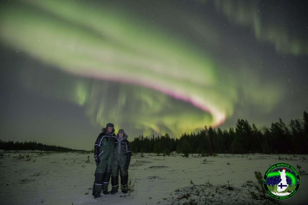 Epic Northern lights flying above Kaamanen in Lapland